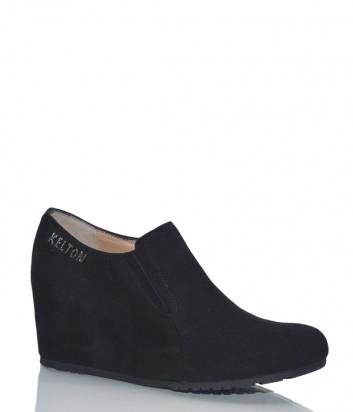 Замшевые туфли Kelton 1014 на платформе черные