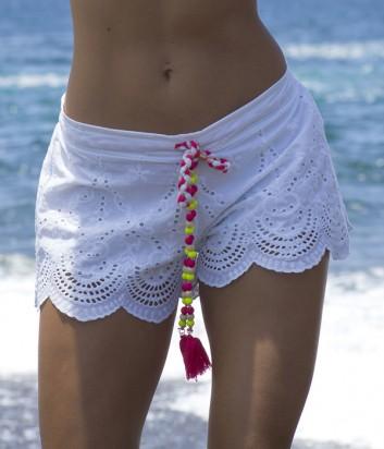 Легкие шорты Ysabel Mora 85594 белые с яркими шнурками