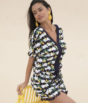 Пляжная туника Ysabel Mora 85482 с принтом лимонов