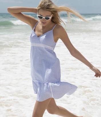 Пляжное платье Ysabel Mora 85576 в бело-голубую полоску
