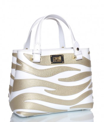 Кожаная сумка Cavalli Class Meryl на два отделения с принтом бело-золотая