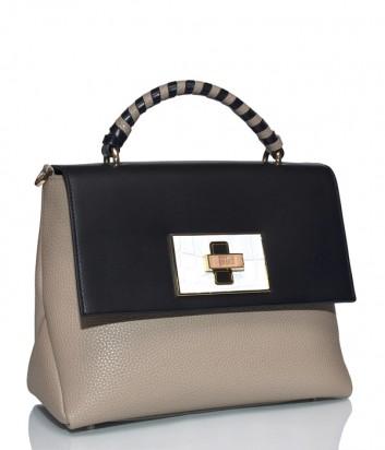 Кожаная сумка Cavalli Class Delphine с откидным клапаном черно-бежевая