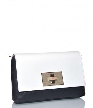 Кожаная сумка Cavalli Class Delphine со съемным плечевым ремнем черно-белая