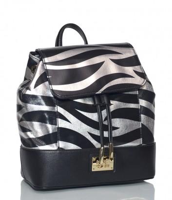Женский рюкзак Cavalli Class Deva с серебристо-черным принтом