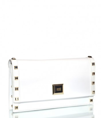 Кожаная сумка Cavalli Class Corolle на цепочке с заклепками белая
