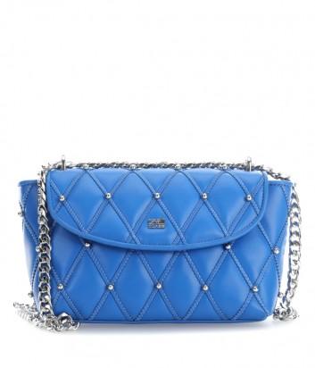 Стеганная кожаная сумка Cavalli Class Jolie на цепочке синяя