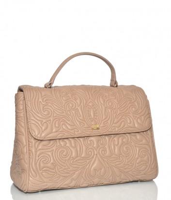 Бежевая сумка Cavalli Class Blossom с откидным клапаном и тисненным узором
