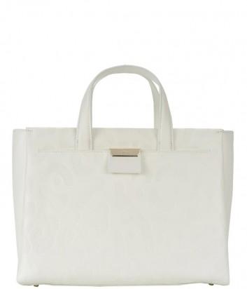 Большая кожаная сумка Cavalli Class Sofia с тисненным принтом кремовая