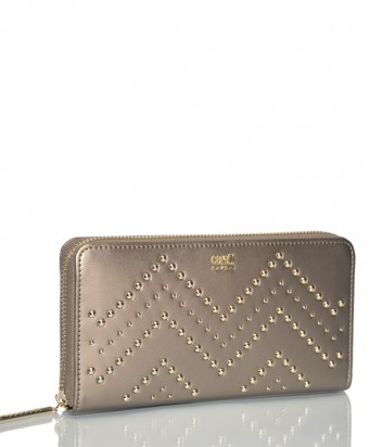 Кожаный кошелек Cavalli Class на молнии с декором золотой