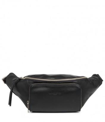 Кожаная поясная сумка Lancaster 578-89 с внешним карманом черная