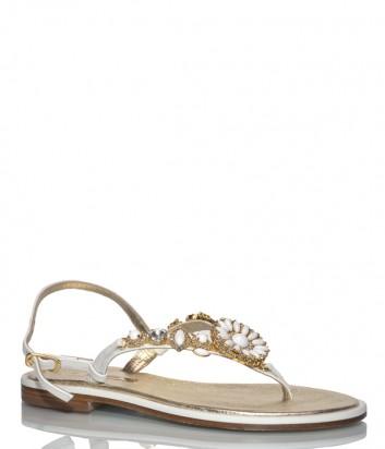 Кожаные сандалии Paola Firenze ST-53 бело-золотые