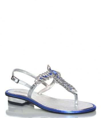 Кожаные сандалии Paola Firenze FB661 серебристые с голубыми камнями