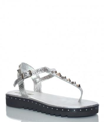 Кожаные сандалии Paola Firenze BOR38 серебристые