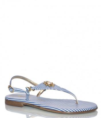 Кожаные сандалии Paola Firenze Triangolo в бело-голубую полоску
