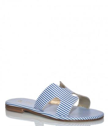 Кожаные шлепанцы Paola Firenze HE01 в бело-голубую полоску
