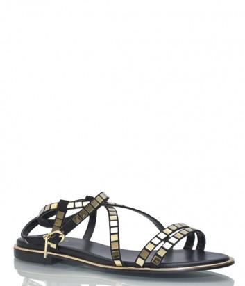 Черные кожаные сандалии Liu Jo 19023 с золотыми деталями