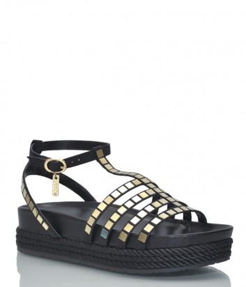 Черные кожаные сандалии Liu Jo 19043 с золотыми деталями