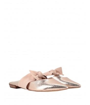 Золотые кожаные мюли Kendall+Kylie с нежно-розовой замшевой вставкой