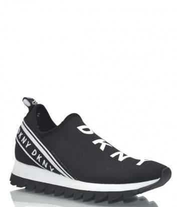 Текстильные кроссовки DKNY 1966559 черные с белыми надписями