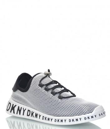 Черные текстильные кроссовки DKNY 1963322 обтянуты белой сеткой