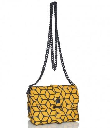 Кожаная сумка Gabs 440T1 через плечо желтая с узором