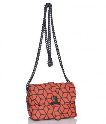 Кожаная сумка Gabs 440T1 через плечо оранжевая с узором