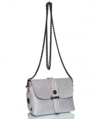 Кожаная сумка Gabs 440T1 через плечо серебристая