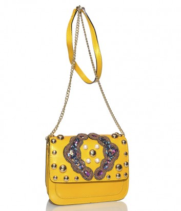Желтая кожаная сумка Stefano Ghilardi Bloggy с декором