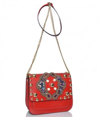 Красная кожаная сумка Stefano Ghilardi Bloggy с декором