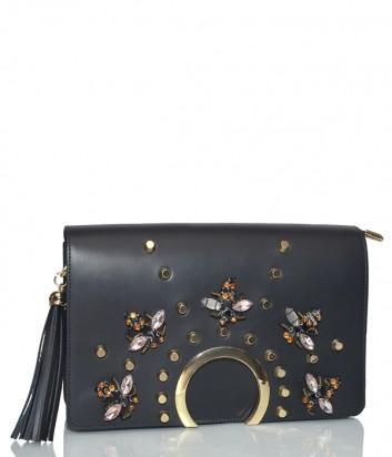 Черная кожаная сумка Stefano Ghilardi Alice с декором и съемным плечевым ремнем