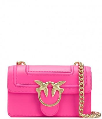 Кожаная сумка PINKO Love Bag 1P21AF с откидным клапаном цвета фуксии