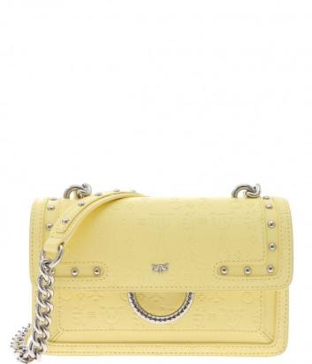 Кожаная сумка PINKO Love Bag 1P21AN с тисненным рисунком желтая