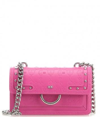Кожаная сумка PINKO Love Bag 1P21AN с тисненным рисунком розовая