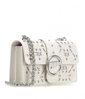 Кожаная сумка PINKO Love Bag 1P21BF с перфорированным узором бело-розовая