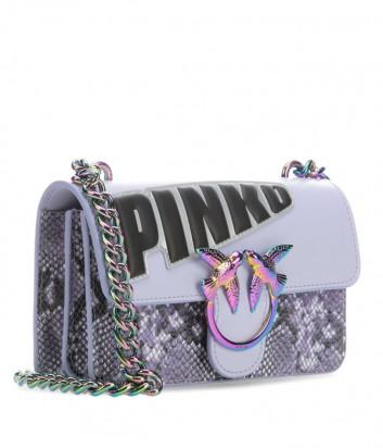 Кожаная сумка PINKO Love Bag 1P21CP лиловая с надписью и принтом змеи