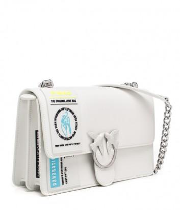 Сумка PINKO Love Bag 1P21CG в белой гладкой коже с надписями