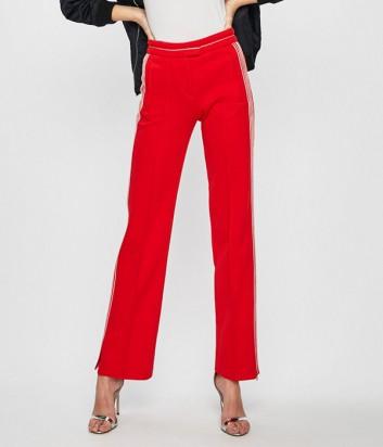 Красные брюки PINKO 1G13UB с декоративной строчкой