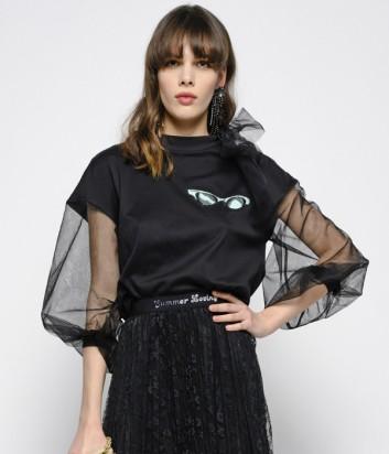 Черный укороченный свитшот PINKO 3U10H с рукавами из тюля