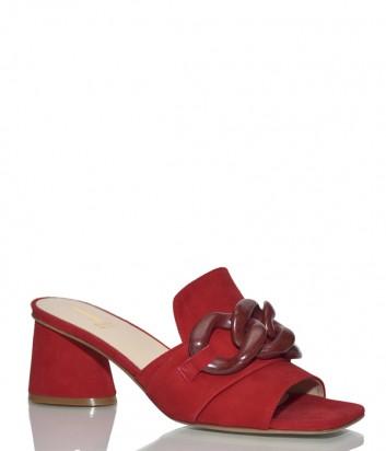 Замшевые мюли Jeannot 58032 на широком каблуке красные