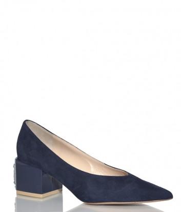 Синие замшевые туфли H'estia Di Venezia 1605 с декором на каблуке