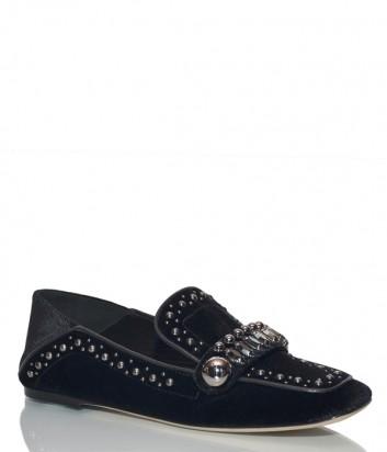 Черные замшевые туфли Nina Lilou 282578 с декором