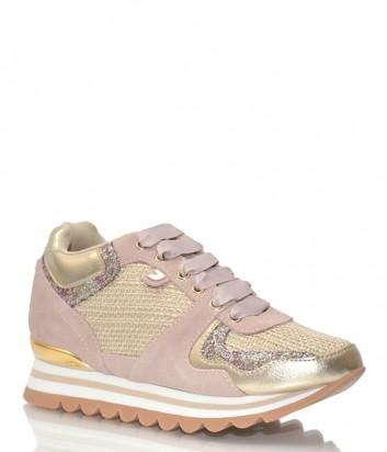 Замшевые кроссовки Gioseppo 43400 пудрово-золотые
