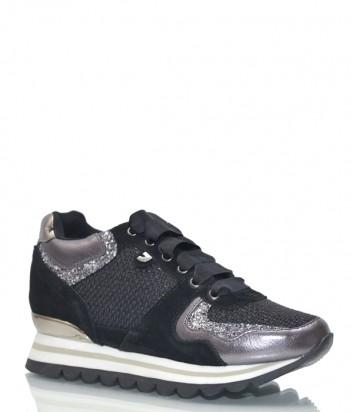 Замшевые кроссовки Gioseppo 43400 черно-серебристые