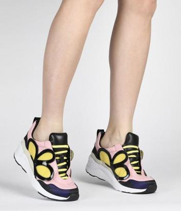 Кожаные кроссовки Kat Maconie Harper пудровые с желтой аппликацией