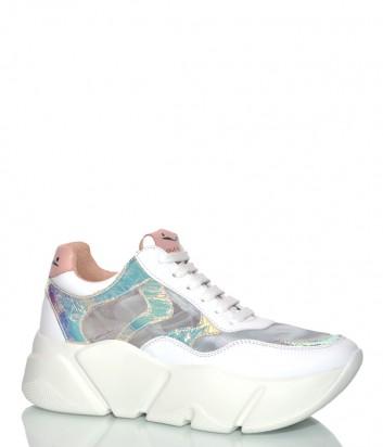 Кожаные кроссовки Voile Blanche 2013592 на платформе серебристые