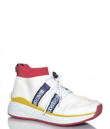 Белые кроссовки Roberto Cavalli Erika с яркими надписями