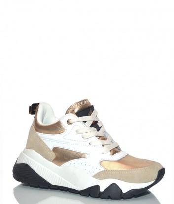 Кожаные кроссовки Roberto Cavalli Raksha белые с золотыми вставками