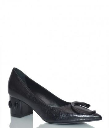 Кожаные туфли Roberto Cavalli 3399 на маленьком каблуке черные