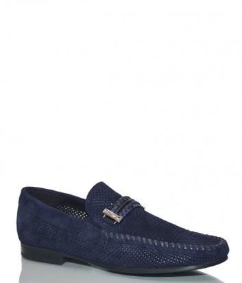 Замшевые туфли Baldinini 997244 с перфорацией синие