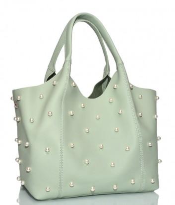 Мятная сумка-шоппер Tosca Blu 1937B21 с косметичкой внутри